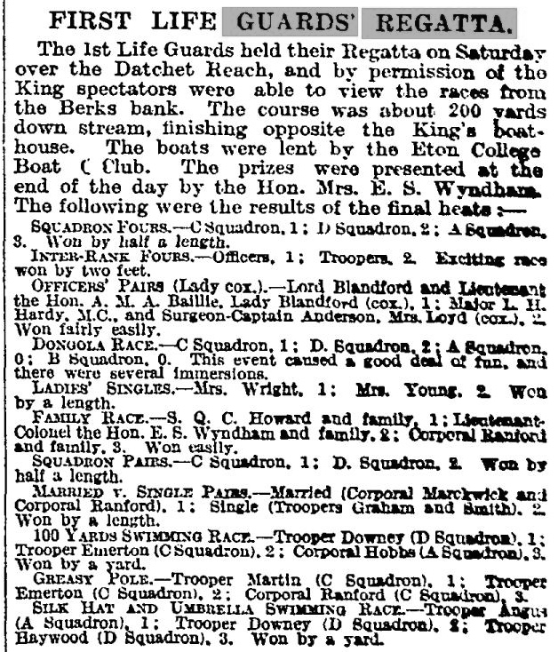 While Guards Officers had their own boat club and annual regatta, boat racing for the ranks was more impromptu, often taking place in Windsor according to reports in The Times. This 1920 Times piece on the First Life Guards Regatta recorded events for both officers and for troopers (privates). Notably, there were two inter-rank races. Would this mixing have happened before the 1914 - 1918 War?