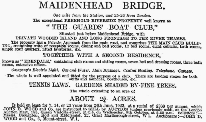 An advertisement in The Times describing the facilities that the Guards Club provided when the freehold was put up for sale following the death of the freeholder, Major-General Lord Cheylesmore of the Grenadier Guards.