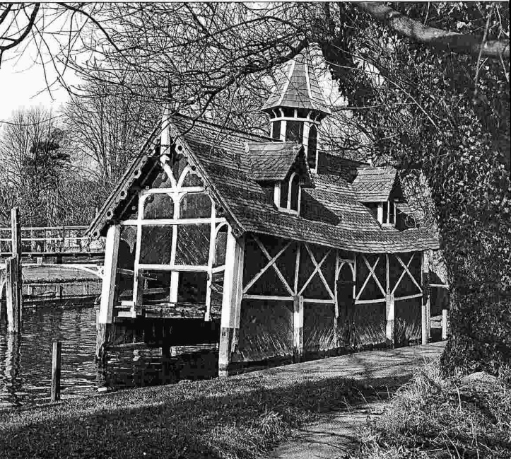 The boathouse in a state of decay.