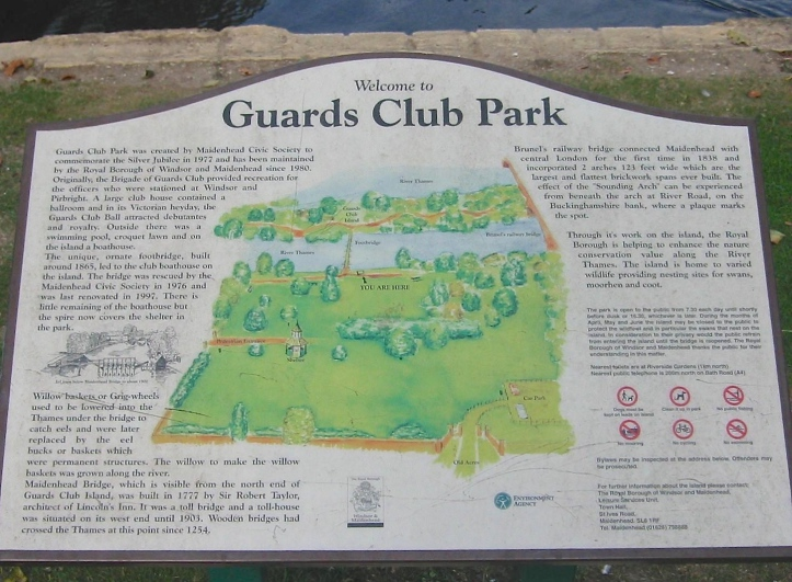 A sign in Guards Club Park telling the story of the place (click to enlarge).