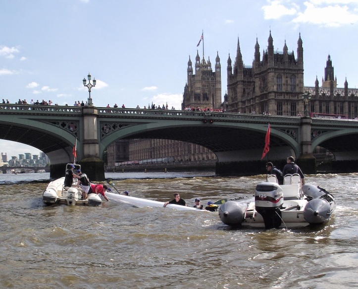 In 2014, there was a Parliamentary Upset when the Commons managed to turn their eight over after the finish of that year's PBR. All were promptly rescued and were voting in the House within the hour. After this, it was decided that future races should be in more stable craft.