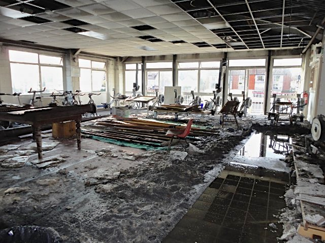 The old gym after the fire. Picture: Gabbitas Reception.