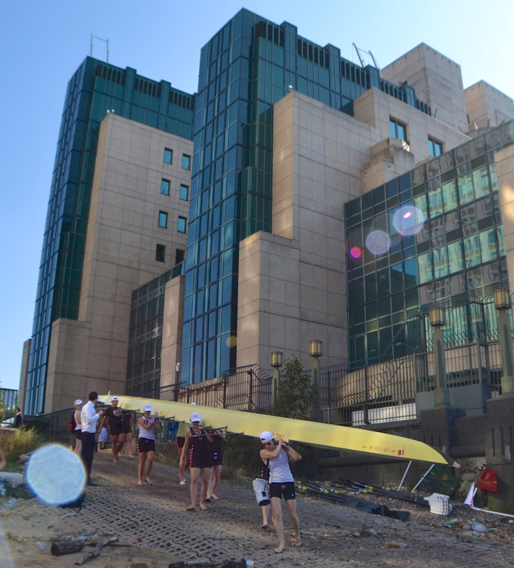 The Thames Rowing Club women's eight goes afloat in the shadow of the slightly Kafkaesque headquarters of Britain's Secret Intelligence Services ('MI6').