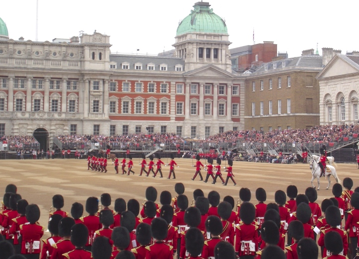 Officers move to their respective positions. The view among the ranks, that 'officers can't march', is perhaps given a little credence here as one end of the line seems to be out of step with the other.
