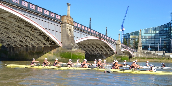The women's race, a few strokes off the start, goes through Lambeth Bridge. Thames is nearest the camera, Molesey is furthest away.