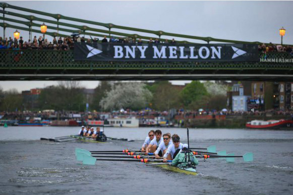 The 2012 Boat Race, Hammersmith Bridge.