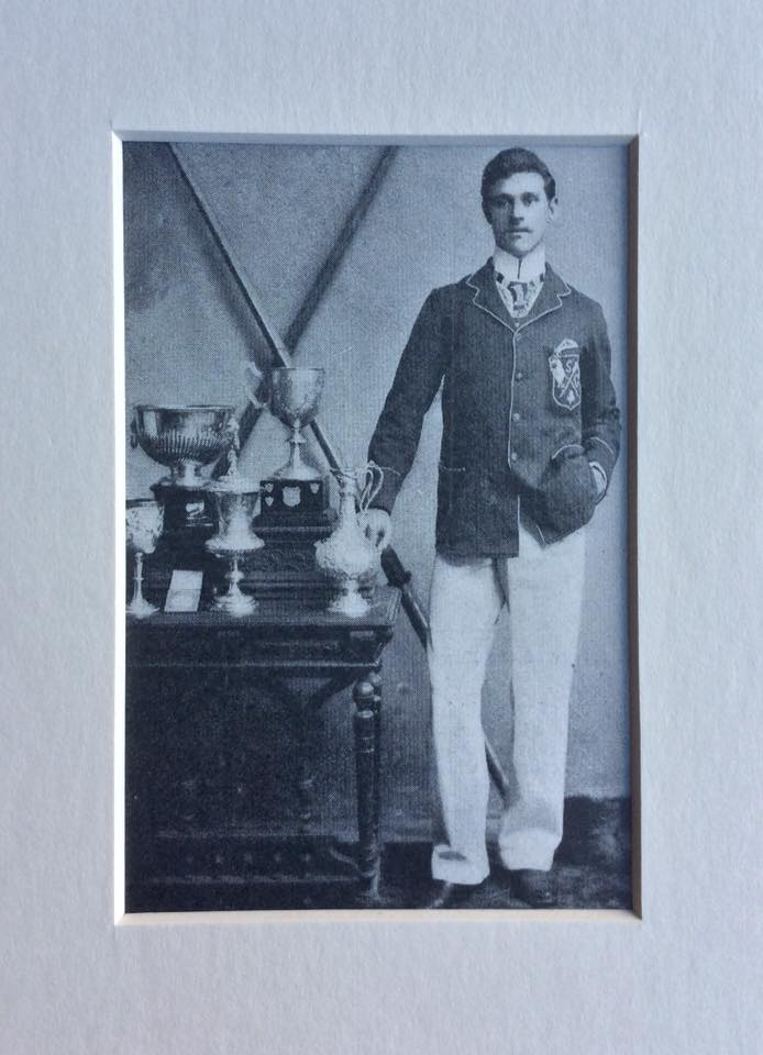 John Hall, Shannon Rowing Club, Limerick, the champion sculler of Ireland in 1901. The Eblana Challenge Cup with its original base with silver shields on which the names of previous winners were engraved. Hall was accomplished sculler and as a sweep rower formed a winning crew with Shannon R. C. club-mates, Healy, Shanahan and O'Brien. Together they stamped their dominance on senior rowing in Ireland over a number of years including a win in the other 'championship event' the Metropolitan Grand Challenge Cup. Photo: © Greg Denieffe.