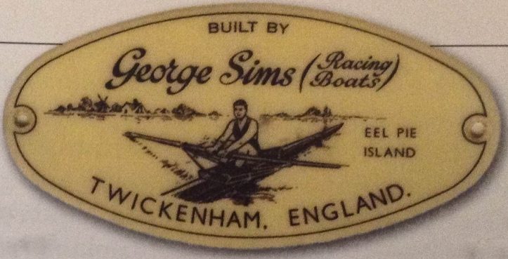 The maker's plate on a boat built by George Sims (Racing Boats) Ltd.
