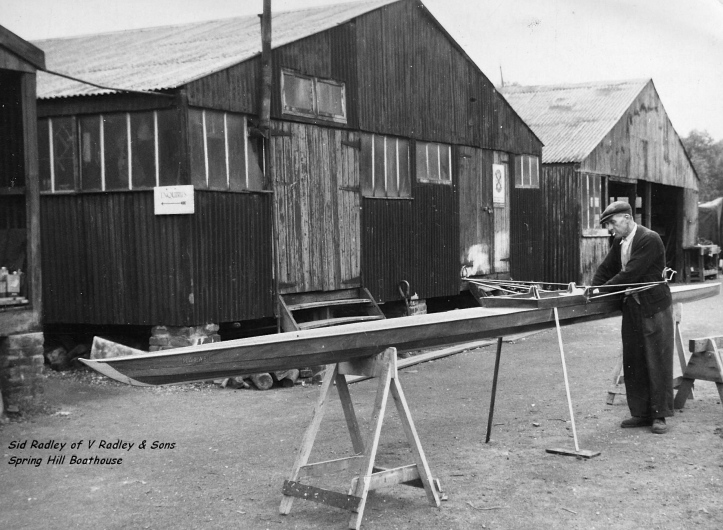 "Sid Radley at the family boatbuilders at Springhill, Upper Clapton, on the River Lea, in 1956. He is at work on what is now the ""J. Hopper"" but which was originally called the ""Maxwell""."
