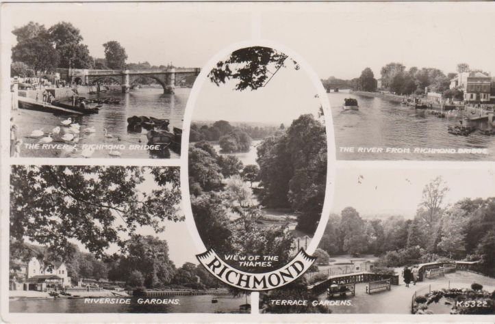 A 1950s postcard of Richmond, Surrey, which rightly gives prominence to the town's riverside setting. The 'View of the Thames' from Richmond Hill illustrated in the centre is possibly unique in that it is one protected by a specific Act of Parliament.