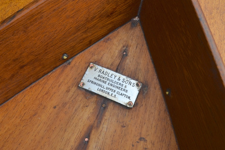 The vital maker's plate that allowed the boat's history to be traced.