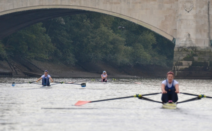 The finish at Chiswick Bridge. The final times were: Leyden 22.32, Francis 22.45, Whittaker 23.01, Carlton 23.20.