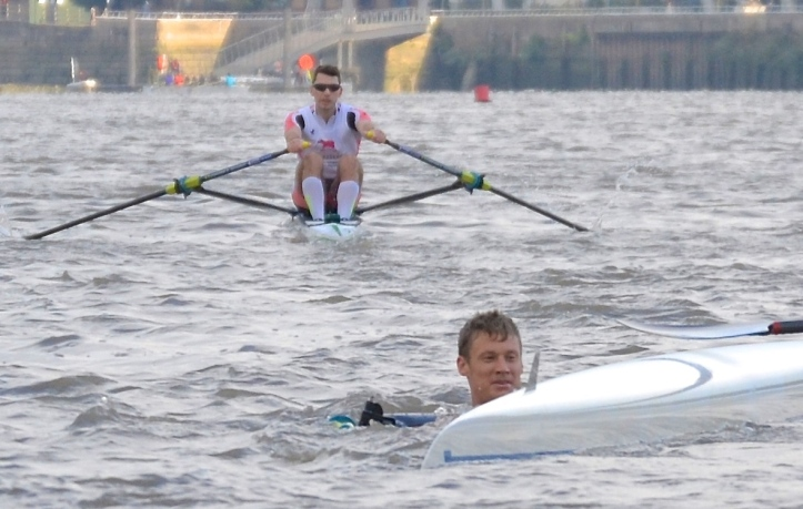 The phlegmatic Middleton seemed unfazed by his upset and treated the whole incident with sportsmanlike good humour. He got back in his scull, finished the course, and joked 'What's my time?' at the finish.