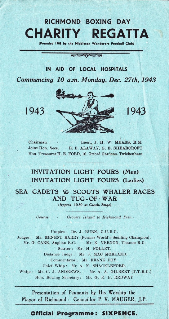 The front page of the 1943 programme for the annual Boxing Day (26 December) Charity Regatta held in Richmond, Surrey, a suburban town in southwest London, eight miles from the centre of the Capital.