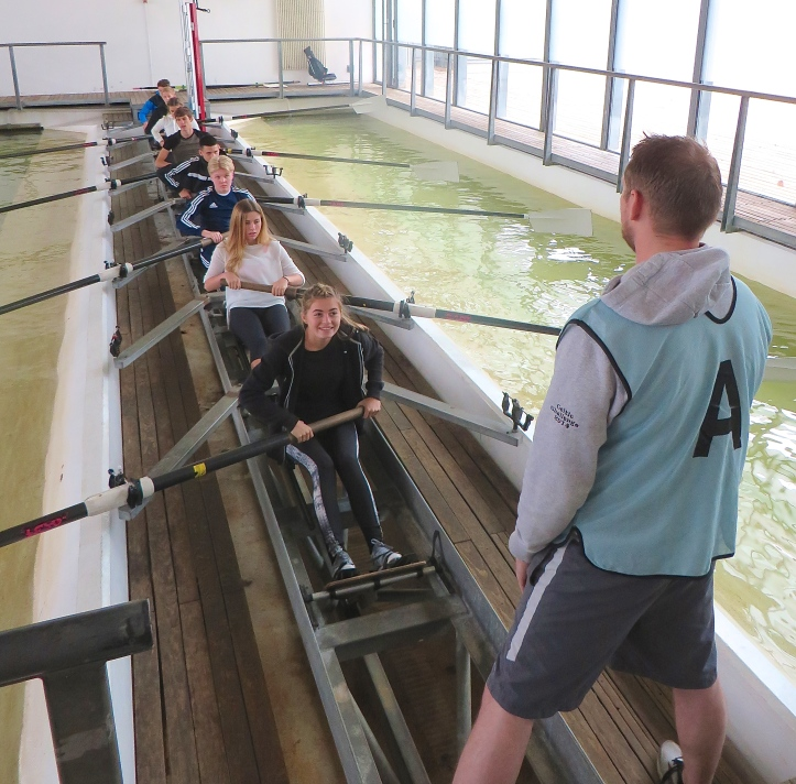 The eight person rowing and sculling tank at Royal Docks Adventure
