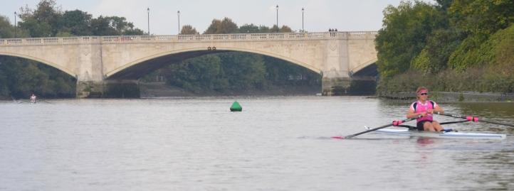 At the finish at Chiswick Bridge: Kirkwood 20.56, Boddington 21.36, Richards 21.40, Christie 21.41, Middleton NTT.