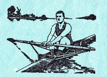 A close-up of the regatta programme's sculler logo – complete with windmill. This proves that the image pre-dates 1943. The programme was printed locally, at the Richmond factory that still produces remembrance poppies.