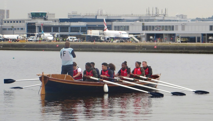 ….. and on the water. The London City Airport is in the background.