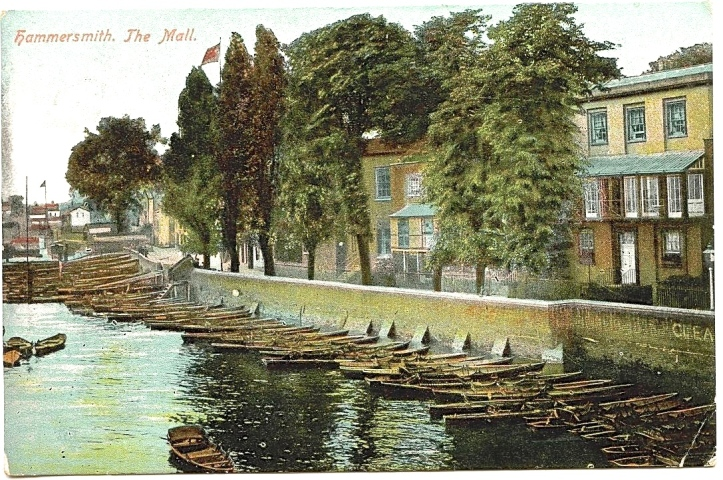 It was not only genteel riverside towns such as Henley and Maidenhead that catered to the almost insatiable desire to 'mess about in boats'. Here, just upstream of the bridge sometime before the Great War, is a fine selection of skiffs available for hire in the more 'rough and ready' semi-industrial area of Hammersmith, West London.