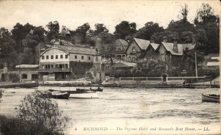 A postcard from long before Bill's time showing the Pigeons/Three Pigeons in Richmond and what was then Messum's Boathouse.