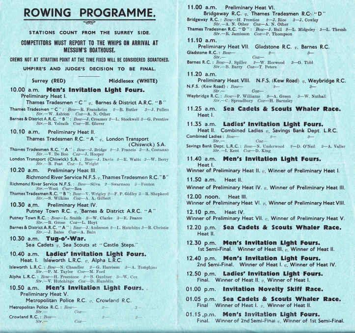 The rowing programme's inside pages (click to enlarge).