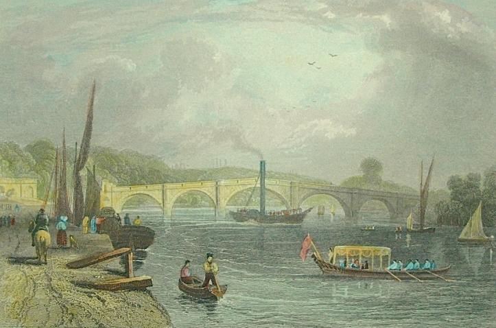 Richmond Bridge, looking upriver, in 1833. The distinctive hump in the centre arch is to allow masted sailing boats to pass under.