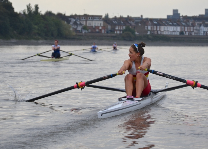 Approaching Barnes. Chiswick Steps times: Leyden 13.54, Francis 14.01, Whittaker 14.10, Carlton 14.19.