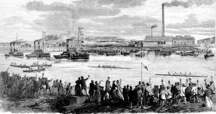 The first boat race between Sydney University BC and Melbourne University BC on the Yarra in 1870.