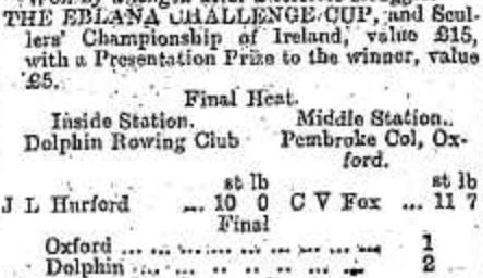 The results of the heats and final of The Eblana Challenge Cup, and Scullers' Championship of Ireland for 1899 as recorded in the Irish newspapers. Photo: Kieran Kerr.