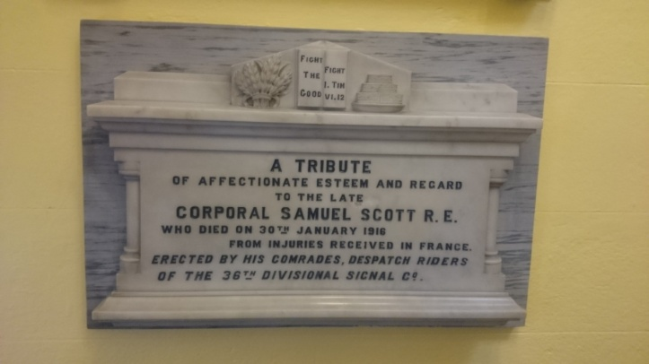 A memorial plaque for Samuel Scott in the First Newry (Sandy Street) Presbyterian Church. Photo supplied by Nigel Henderson. Original Photo: Askey Andrews.