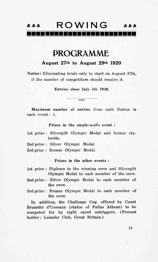 A page of the programme for the rowing events at the 1920 Olympic Games held in Antwerp confirming Leander Club as the holders from the previous Games which were held in 1912.