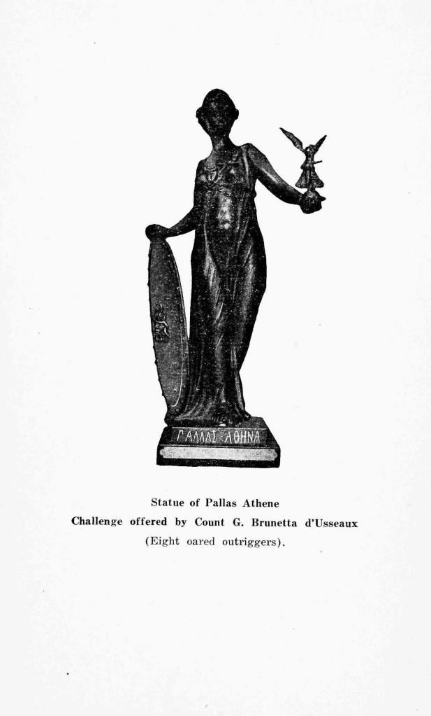 A photograph of the The Brunetta Statuette, 'ΠΑΛΛΑΣ ΑΘΗΝΑ' from the 1920 Olympic programme. What price would this fetch if it came up for sale?
