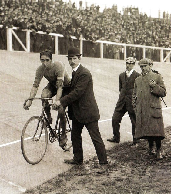 A wonderful photograph of Charles Bartlett, Great Britain, 1908 Olympic gold medallist in the Cycling 100 km track event. Photo: Pinterest.