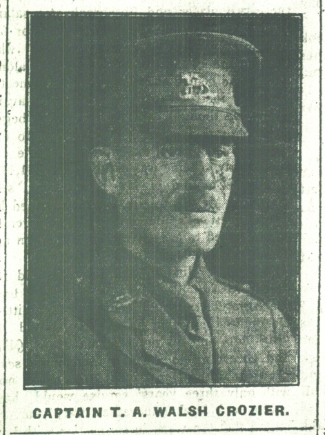 CAPTAIN T. A. WALSH CROZIER, QUEEN'S (R. W. SURREY) REGIMENT – died 23 March 1918.