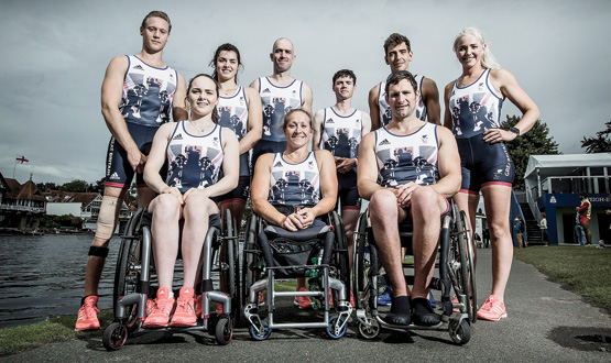 The GB Paralympic Rowing Team – back row: Laurence Whitely, Grace Clough, Daniel Brown, Oliver James, James Fox and Pamela Relph. Front row: Lauren Rowles, Rachel Morris and Tom Aggar.