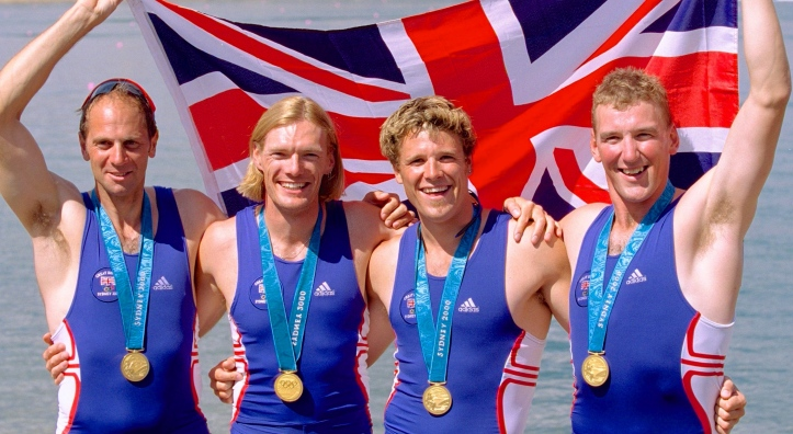 Steve Redgrave, Tim Foster, James Cracknell and Matthew Pinsent after winning the fours at the Sydney Games. Foster was small for an Olympic heavyweight but his excellent technique ensured him of a seat between Redgrave and Pinsent.
