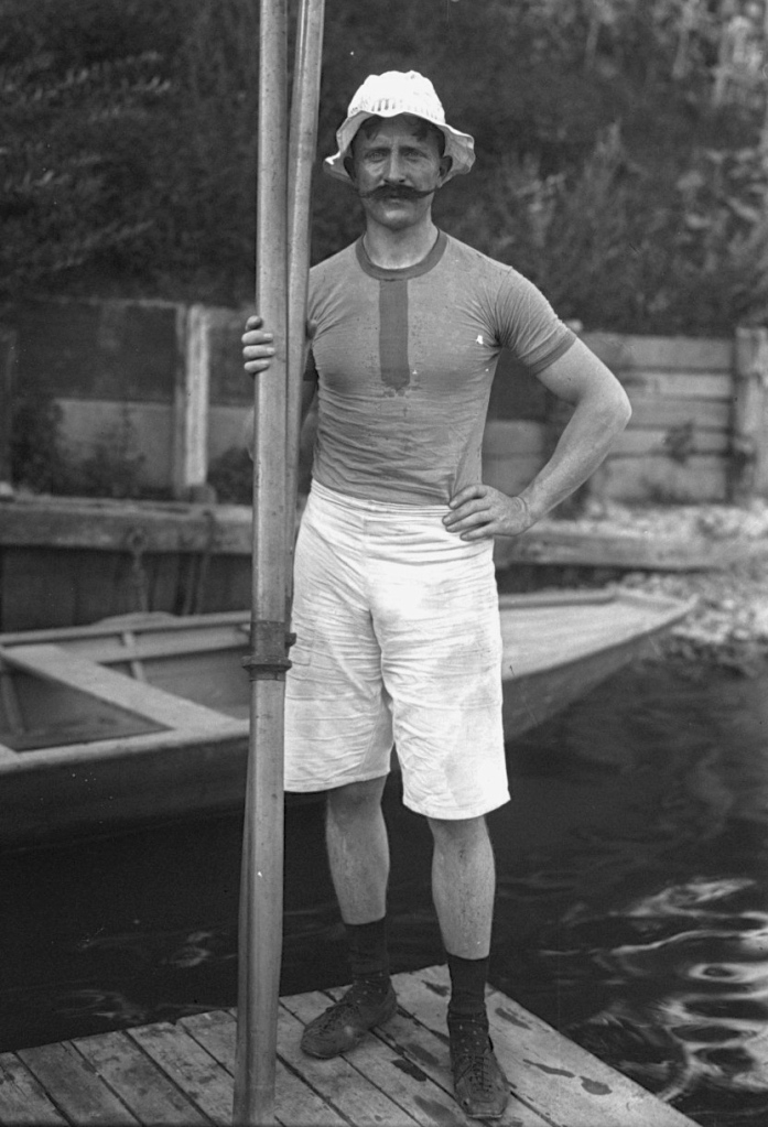 Gaston Delaplane, a French rower at the (unofficial) 1906 Olympic Games with his Gold Medal winning moustache.