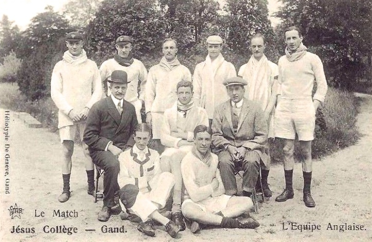 1911: A crew from Jesus College, Cambridge, who defeated a crew from Ghent, Belgium. This postcard is currently for sale on eBay. http://www.ebay.co.uk/itm/RARE-Vintage-Postcard-1911-Jesus-College-Cambridge-Rowing-Team-v-Ghent-/232114832259?hash=item360b1f4383:g:XGIAAOSw8w1YAgDW The listing gives the full crew. It notes that the coach in the flat cap is Stanley Melbourne Bruce, later Prime Minister of Australia, https://heartheboatsing.com/2011/09/13/htbs-quiz-stanley-bruce/ and that the man in the bowler is Steve Fairbairn, https://en.wikipedia.org/wiki/Steve_Fairbairn the famous Australian coach.