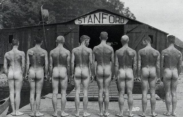 This picture of a Stanford University, California, crew is perhaps from the early 1900s. It makes its way around the internet – but nobody is sure what it is all about. A fundraising calendar perhaps?