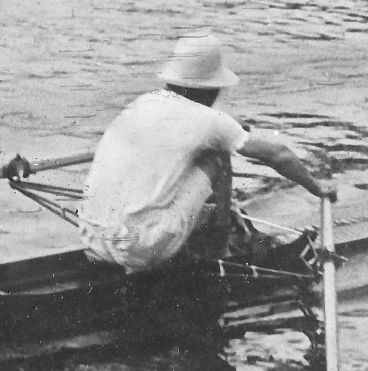 Pic 2. Morris K. Morris in action at Henley in 1923. His crooked 'dog leg' right arm is clearly evident, it had been broken as a youth and badly set. His friends at London RC called him 'MK' but, in mid-1923, he unofficially adopted a new first name and thereafter became Geoffrey or Geoff Morris. Henceforth, I will take the liberty of referring to him as 'Geoff'.
