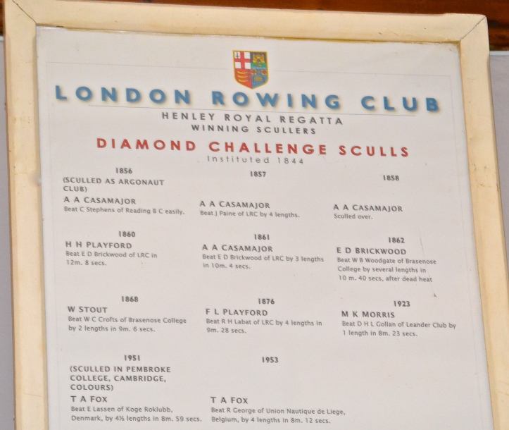 Pic 22. The Diamond Sculls honours board hanging in the Long Room at London Rowing Club, Putney.