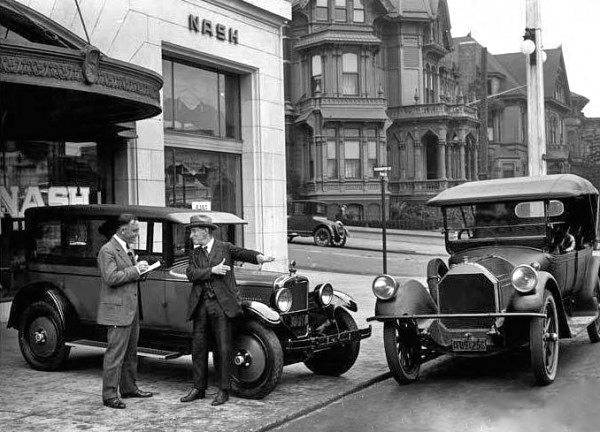 Selling automobiles in the US in the 1920s, a scene that Geoff would recognise. He loved cars, particularly Oldsmobiles and Buicks.
