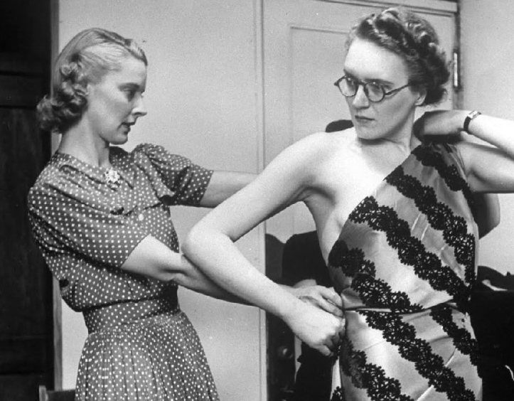 Geoff's first wife, Peggy (left), at work in 1940.