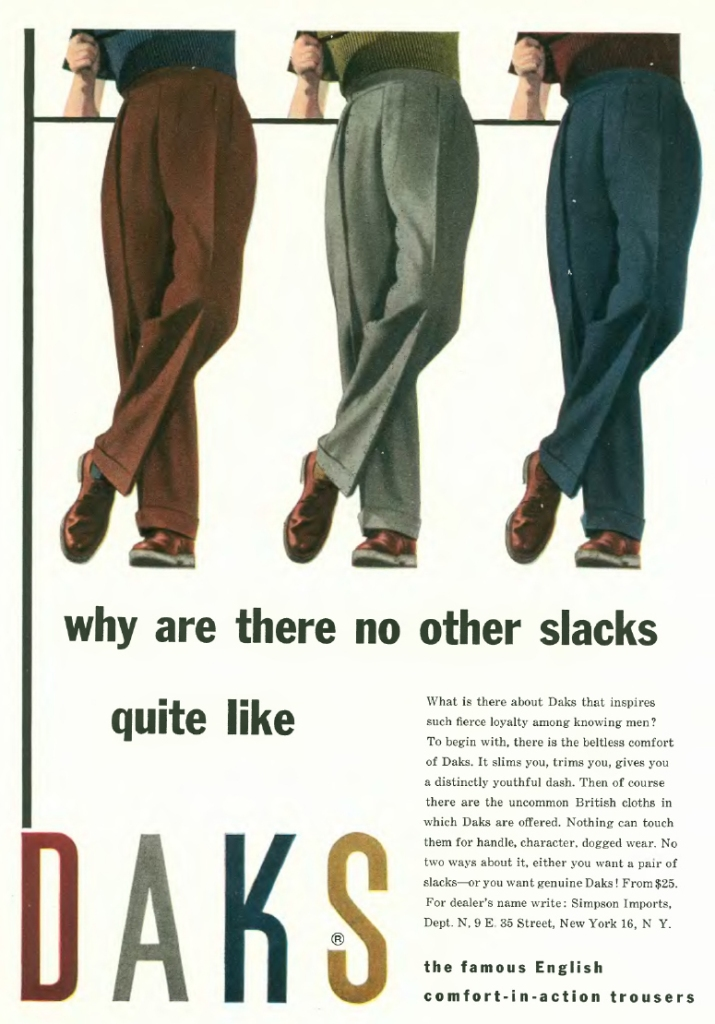 One variation of the truncated legs advertisement. An important 2014 academic study of menswear advertising chose this image as its cover picture.