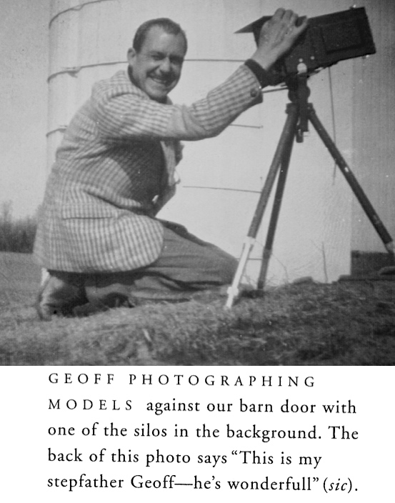 Geoff at work in the early 1940s, taking fashion pictures on the family farm. The picture and the caption are from Pat's book.