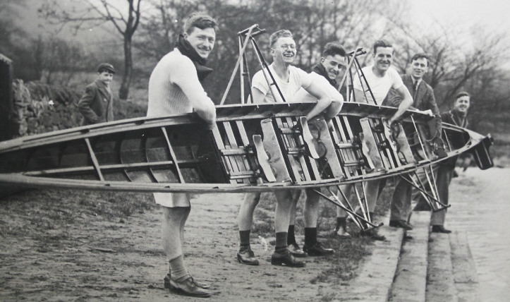 A four from Saltaire Rowing Club, Bradford, West Yorkshire. A nice, rare glimpse into a staggered seat, fixed pin boat.