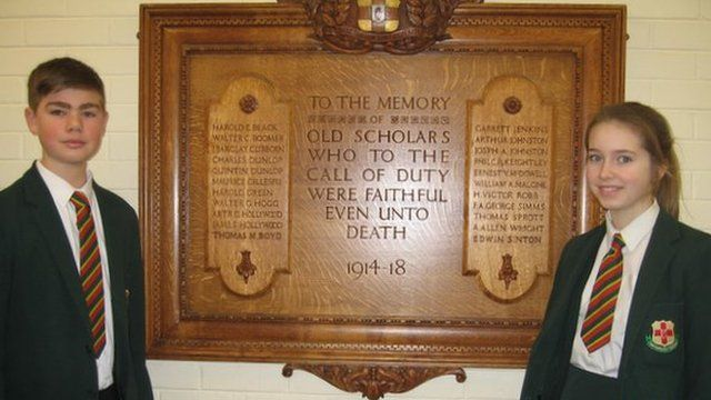 Thomas Sprott named on the memorial of the Friends' School Lisburn. Photo: BBC.