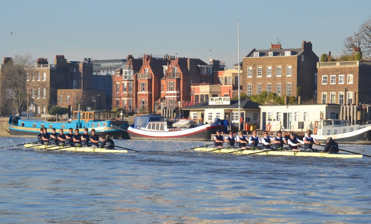 "Passing The Dove Pier at Hammersmith, ""Daniel"" (left) now lead by over a length."