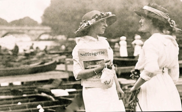 Suffragettes at Henley Royal Regatta in 1913.