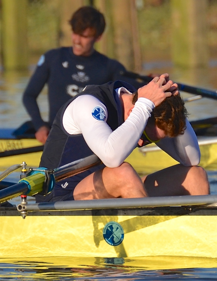 "Matthew O'Leary, '7' in ""Acer"", contemplates his defeat. Of course, some members of losing trial boats still make it into the Blue Boat for the race that really counts."